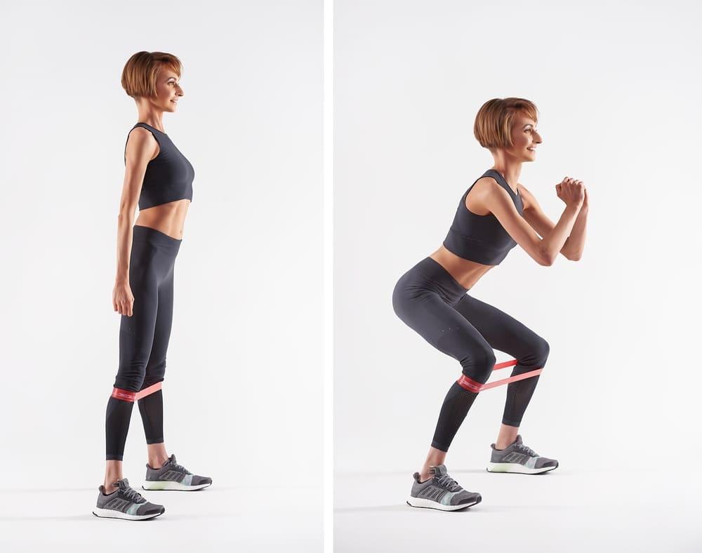 Боковые выпады с фитнес лентой
